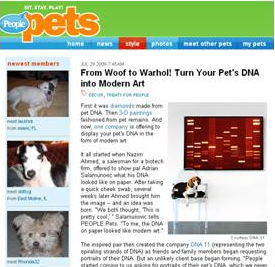 """Bosley lays for a quick snapshot in front of his very own DNA portrait."""